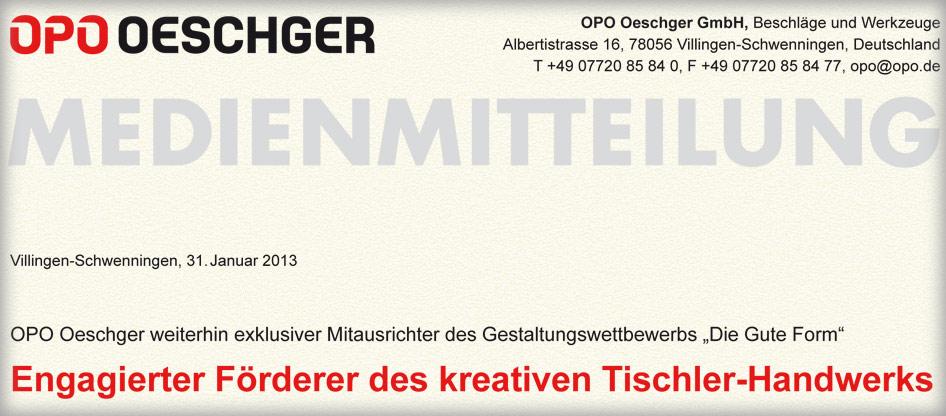 OPO Oeschger führt Partnerschaft mit dem Bundesverband fort