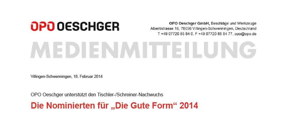 Vorstellung der Nominierten für Die Gute Form 2014
