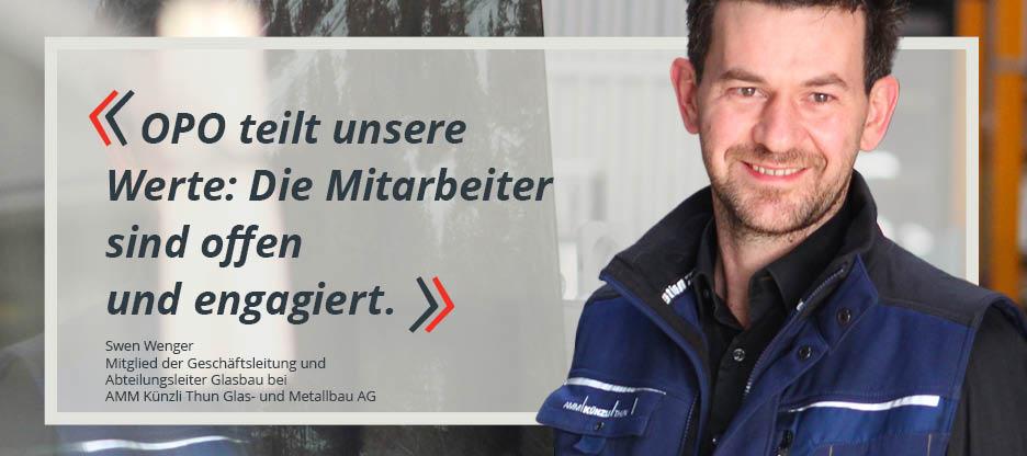 OPO-Kunden im Mittelpunkt: AMM Künzli Thun Glas- und Metallbau AG
