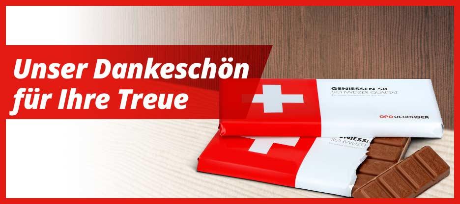 Feinste Schweizer Milchschokolade für Sie und Ihr Team