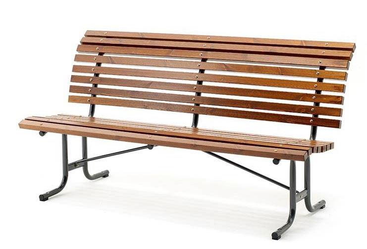 Bequem und doch robust – Parkbank Stahl/Kiefer von www.ajprodukte.at