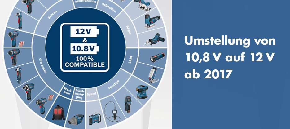 Umstellung von 10,8 Volt auf 12 Volt – Bosch Professional